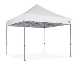 10 foot square frame tent with white canopy