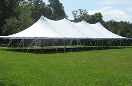 40-foot by 100-foot pole tent with white canopy