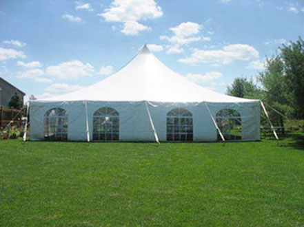 40-foot square pole tent with white canopy and windowed sidewalls
