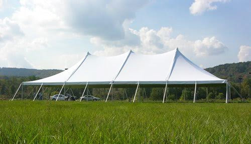 40-foot by 80-foot pole tent with white canopy