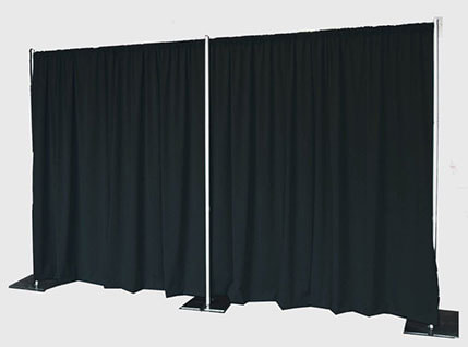 Black drape backdrop with pipe frame