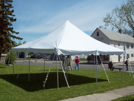 20-foot square pole tent with white canopy